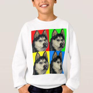 Husky Malamute Goes Primary Collage Sweatshirt