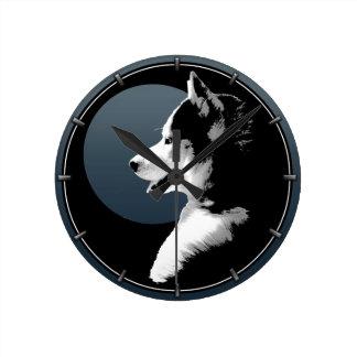 Husky Pup Clock Gifts Decor Sled Dog Wall Clock