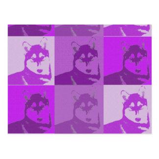 Husky Purple Pop Art Postcard