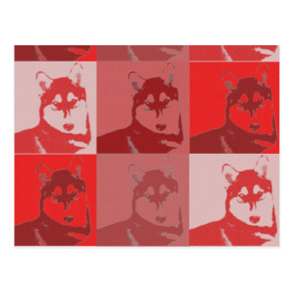 Husky Red Pop Art Postcard
