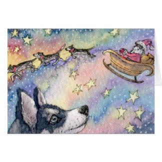 Husky Sleigh Dogs Card