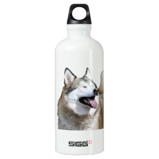 Husky With Closed Eyes Water Bottle