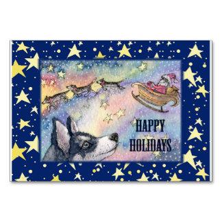 Husky with Santa's sleigh, table card
