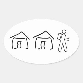 Hut Hut Hike Oval Sticker