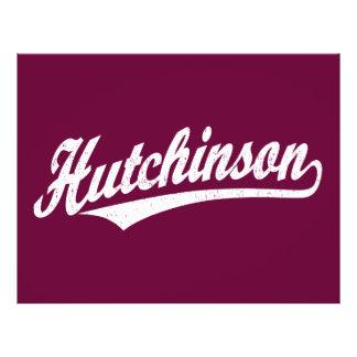 Hutchinson script logo in white distressed full color flyer