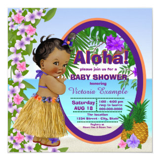 Hwaiian Tropical Luau Hula Baby Shower Card