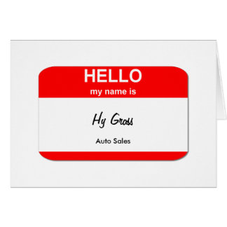 Hy Gross, Auto Sales Greeting Card