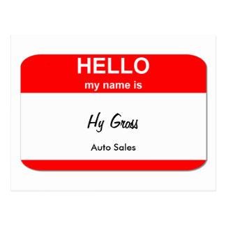 Hy Gross, Auto Sales Postcard