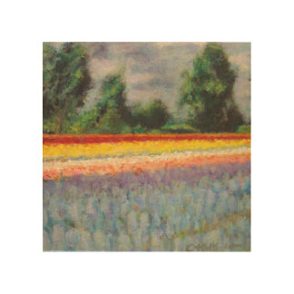 Hyacinths and Tulips Flower Landscape Triptych 1/3 Wood Wall Art