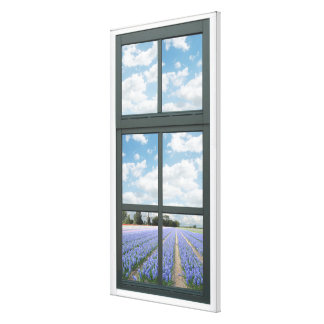 Hyacinths Floral Faux Window View Gallery Wrapped Canvas