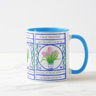 Hyacinths Floral Painting, Inspirational Verse Mug