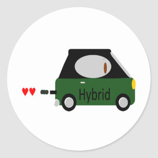 Hybrid Car Round Sticker
