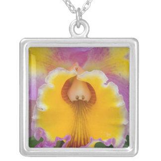 Hybrid orchid, Florida Square Pendant Necklace