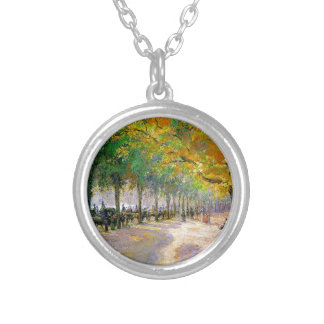 Hyde Park, London by Camille Pissarro Silver Plated Necklace