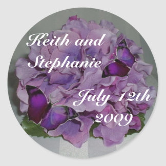 Hydrangea and butterfly envelope seal round sticker