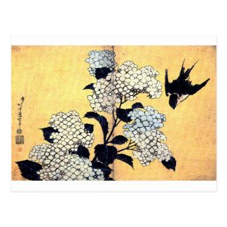 Hydrangea and Swallow by Katsushika Hokusai Postcard