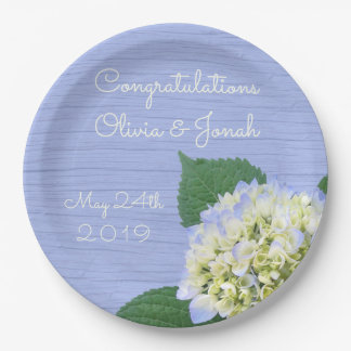 Hydrangea Bloom Blue Wood Grain Wedding Paper Plate