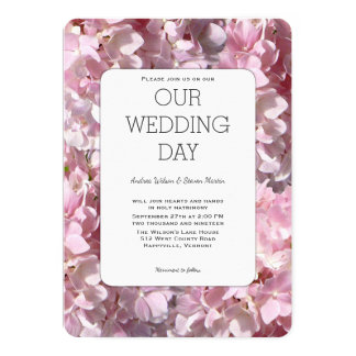 Hydrangea Blooms Pink Floral Wedding Invitation