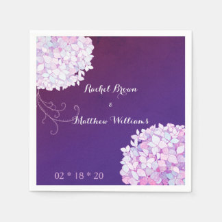 Hydrangea Blooms Plum Wedding Paper Napkins Disposable Serviette