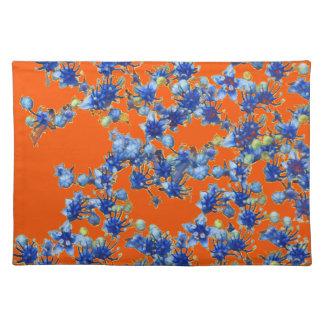 hydrangea blue and orange placemat