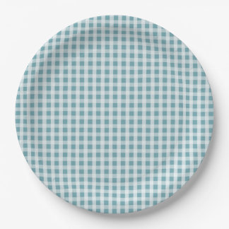 Hydrangea Blue Gingham Check Plaid Pattern 9 Inch Paper Plate