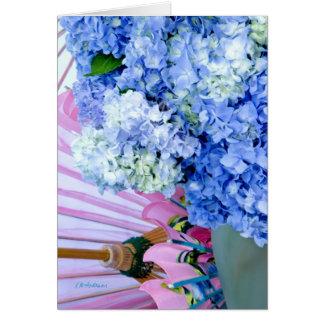 Hydrangea blue pink card