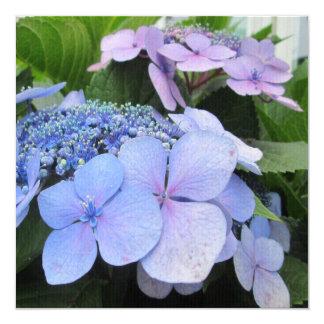 Hydrangea Blue Purple Pretty Flower 13 Cm X 13 Cm Square Invitation Card