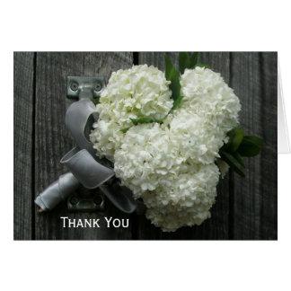 Hydrangea Bouquet Barn Wood Thank You Card