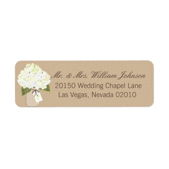 Hydrangea Bouquet Wedding Label Return Address Label