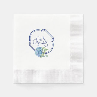 Hydrangea cocktail napkins for Kristen & Jonathan Disposable Napkin