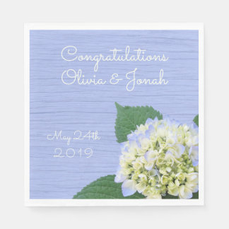 Hydrangea Congratulations Wood Grain Wedding Paper Napkins
