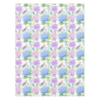 Hydrangea dragonfly lavender blue floral tablecloth