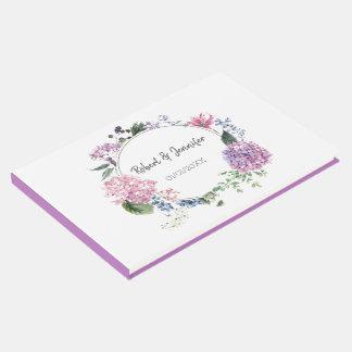 Hydrangea flower wreath wedding themed guest book