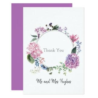 Hydrangea flower wreath wedding themed Thank Card