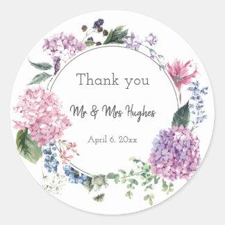 Hydrangea flower wreath wedding themed thank you classic round sticker