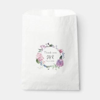 Hydrangea flower wreath wedding themed Thank you Favour Bag