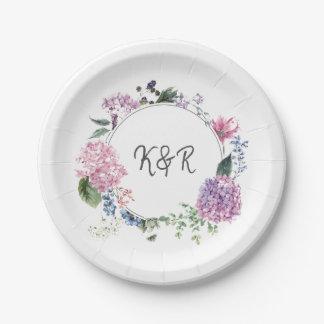 Hydrangea flower wreath wedding themed wedding paper plate