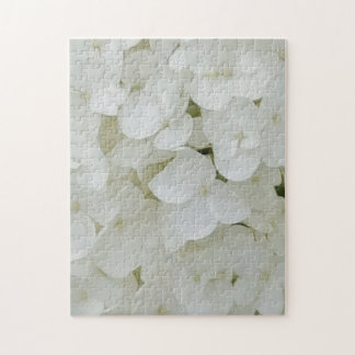 Hydrangea Flowers Floral White Elegant Blossom Jigsaw Puzzle