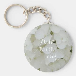 Hydrangea Flowers Floral White Elegant Blossom Mom Key Ring