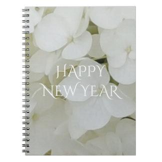 Hydrangea Flowers Floral White Elegant Blossom Spiral Notebook