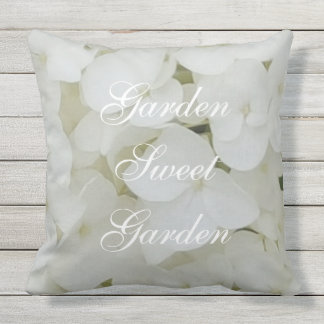 Hydrangea Flowers Floral White Elegant Blossom Throw Pillow