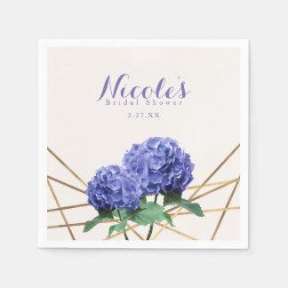 Hydrangea Flowers & Gold Elegant Custom Wedding Disposable Napkins