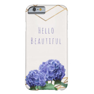 Hydrangea Flowers & Gold Elegant Glam Personalised Barely There iPhone 6 Case