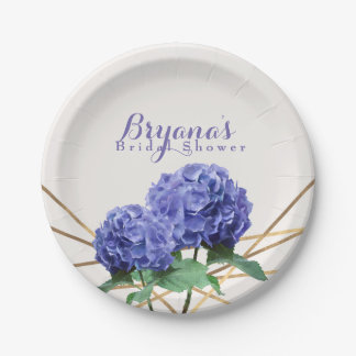 Hydrangea Flowers & Gold Lines Elegant Custom 7 Inch Paper Plate
