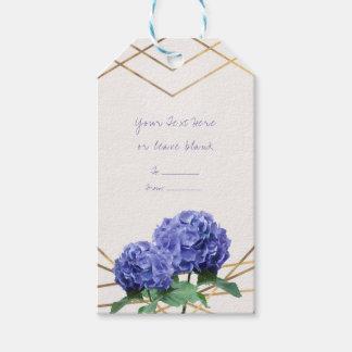 Hydrangea Flowers & Gold Lines Elegant Favour