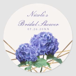 Hydrangea Flowers & Gold Lines Elegant Favour Round Sticker