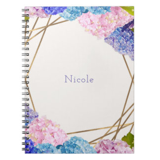 Hydrangea Flowers & Gold Spring Floral Chic Notebooks