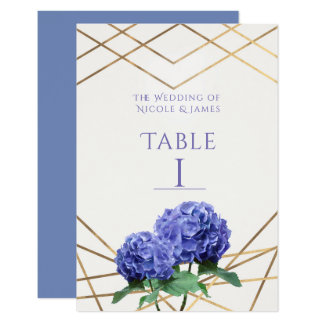 Hydrangea Flowers & Gold Wedding Table Number Card
