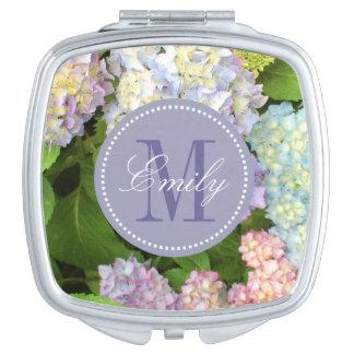 Hydrangea Flowers Monogram Personalized Compact Vanity Mirrors