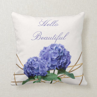 Hydrangea & Gold Elegant Floral Personalised Throw Pillow